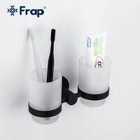 FRAP Tasse Becher Halter Doppel Zahnbürste Zahn Schwarz tasse halter tassen Wand-montieren Bad Zubehör bad hardware set F30206