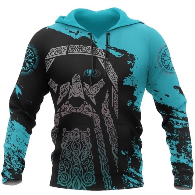 Viking Odin - Blue Pullover Tattoo 3D Hoodie 4