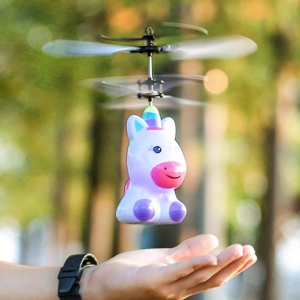 Мини летающий Радиоуправляемый Дрон Единорог вертолет ручной Датчик инфракрасный Индукционный электронный самолет мультяшный Квадрокопт...