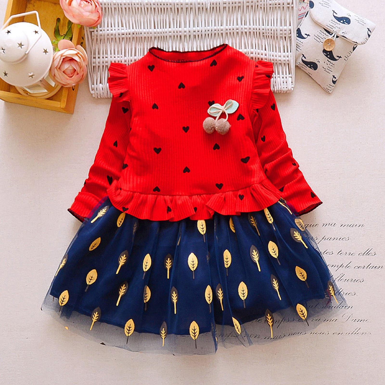 40# Toddler Kids Dresses Baby Girls' Long-sleeved Leaf Net Yarn Stitching Dress Love Dress Kids Clothes Girls תחפושות לתינוקות 1
