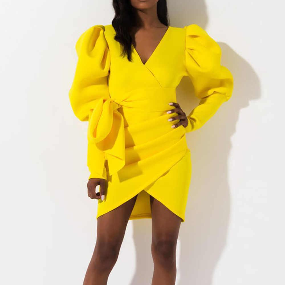 แอฟริกันเซ็กซี่ผู้หญิงVคอผ้าพันคอมินิปาร์ตี้คลับBodyconฤดูใบไม้ร่วงโคมไฟแขนยาวBow Tie PLUSขนาดชุดสั้น
