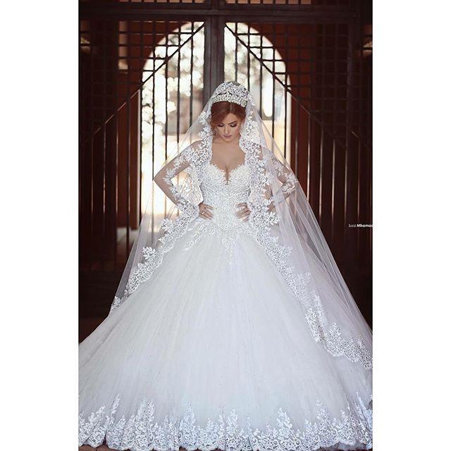 Princess Sheer Long Sleeve Lace Appliques Bridal Gown Without Veil Lebanon Vestido De Novia 2018 Mother Of The Bride Dresses