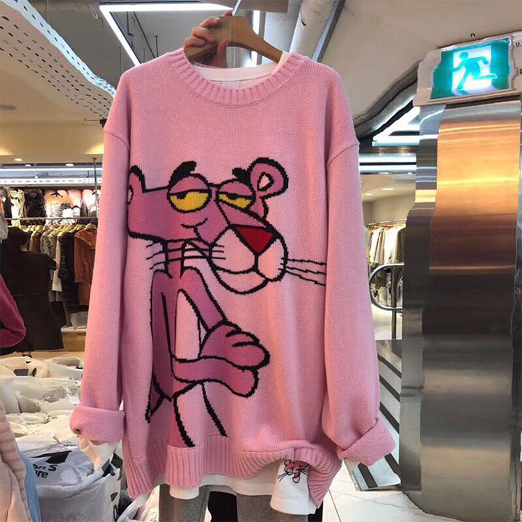 New Lazy Wind Cartoon Pink Leopard Sweater Women Loose Round Neck Pullover Sweater