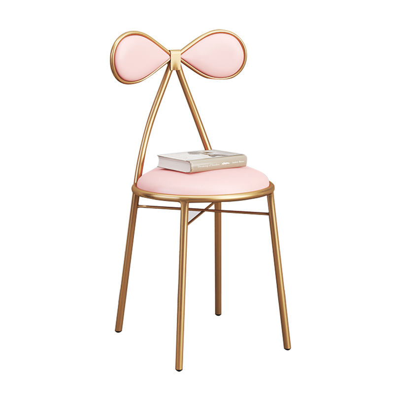 Modern Minimalist Fashion Iron Bow Net Red Bar Chair Girl Makeup  Single Back Dressing Stool