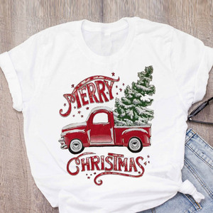 Women Graphic Cartoon Truck Snow 90s Holiday New Year Merry Christmas Printed Tops Lady Tees Clothing Female T Shirt T-Shirt