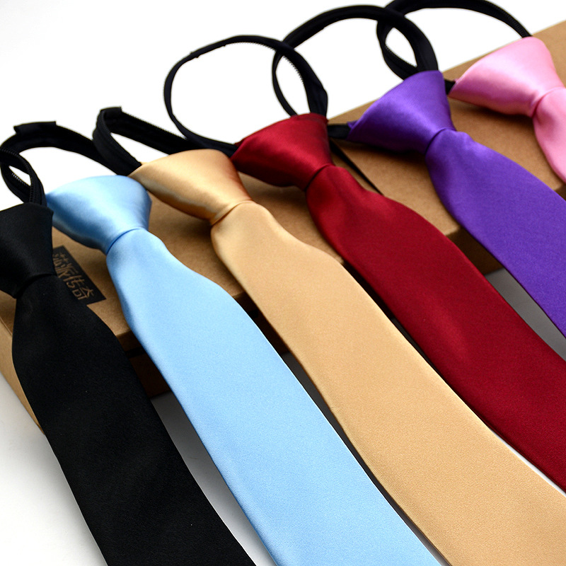 Fashion 5cm Necktie For Men Slim Narrow Tie Easy To Pull Rope Neckwear Korean Style  Orange Red Purple Ties Mens Wedding Necktie