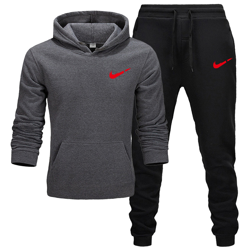 Brand Tracksuit Fashion Men Sportswear 2019 Two Piece Sets All Cotton Thick Hoodie+Pants Tracksuit Male Sets
