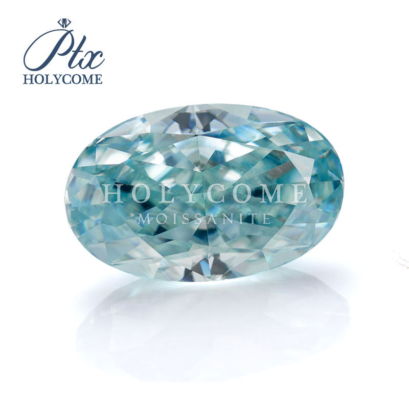 2020 New product Gemstone 8*10mm blue color normal oval cut moissanite for earrings necklace kolczyki bracelet piercing Серьги