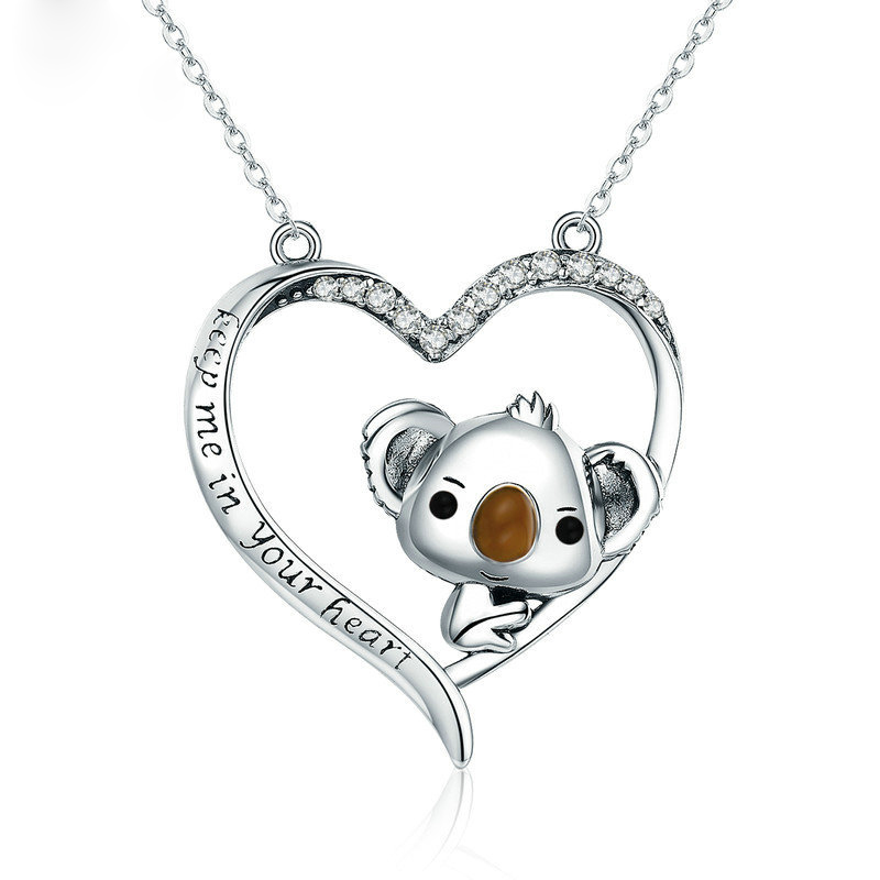 new really 925 silver <font><b>Koala</b></font> <font><b>Necklace</b></font> Australian <font><b>Koala</b></font> <font><b>Bear</b></font> Woodland <font><b>Necklaces</b></font> Pendants Animal For Women Jewelry Gift collier fe image