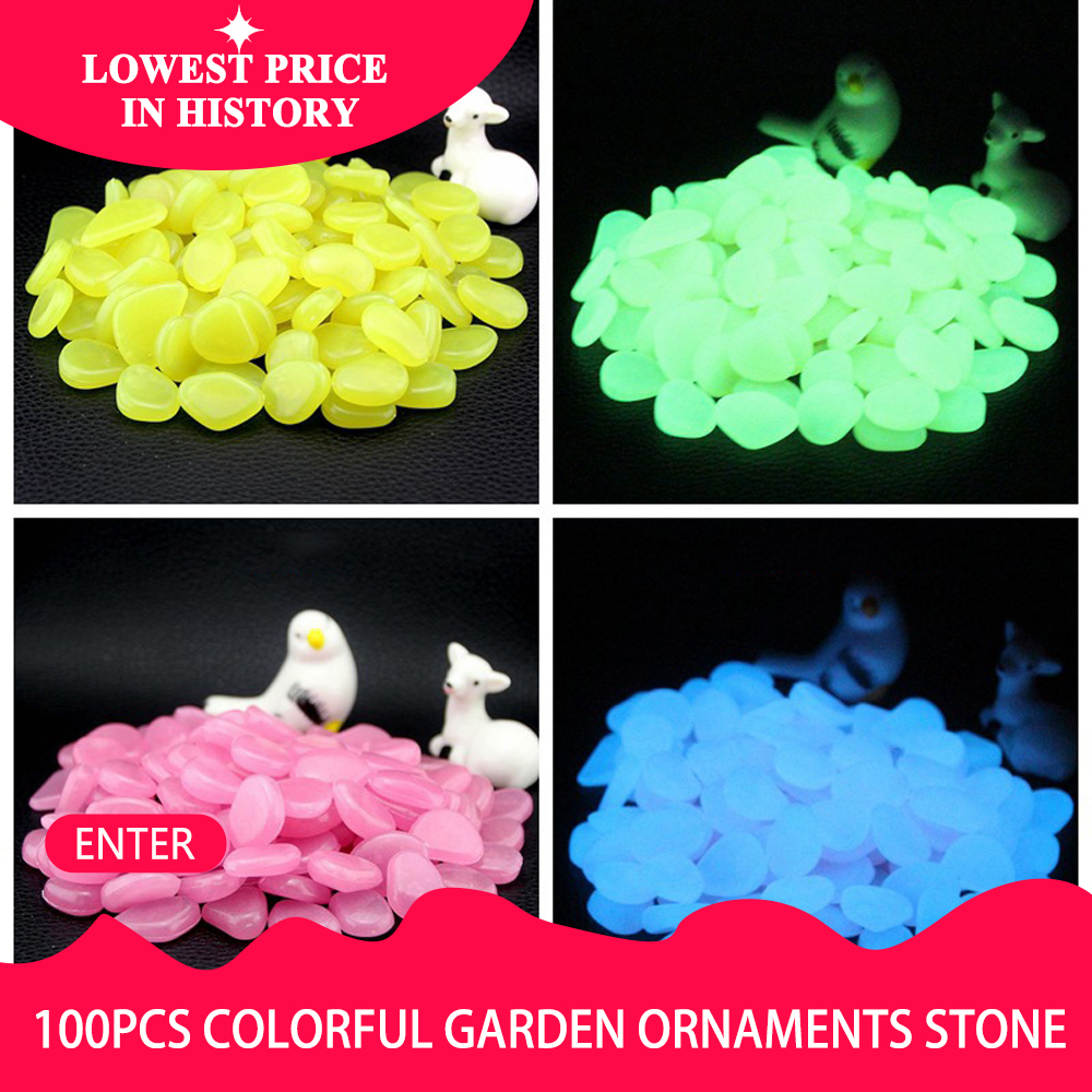 200 Mixed Glow in the Dark Pebbles Stones Luminous for Outdoor Garden Aquarium