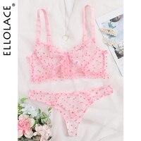 Ellolace Pink Polka Dot Lingerie Set Transparent Women's Underwear Ruffle Bra Set Lace Love Lenceria Lingerie Set For Women 1