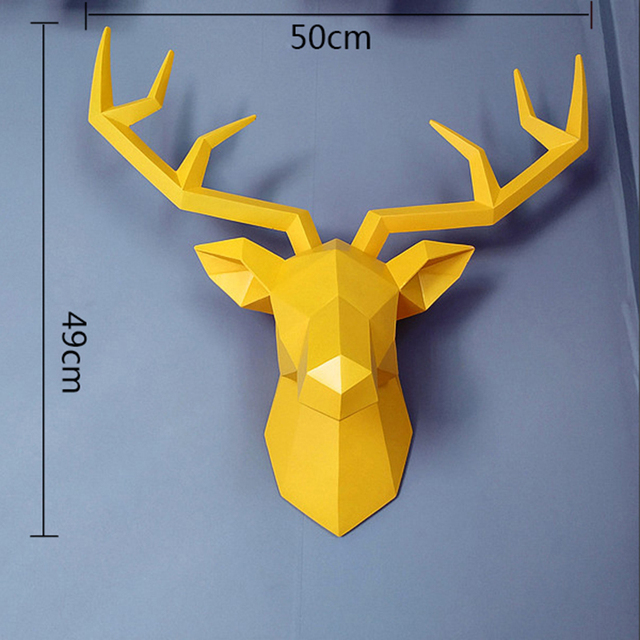 Big Deer Statue Sculpture Home Decor 50x49x20cm Hanging Wall Decoration Accessories Living Room Decor Elk Abstract Sculpture 4