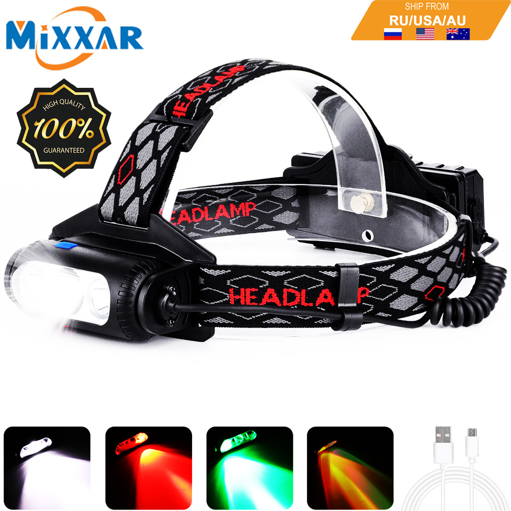EZK20 Dropshipping COB Headlamp 8 Mode Red Green Light Rotatable T6 LED For Camping Hiking Fishing No 18650 Battery