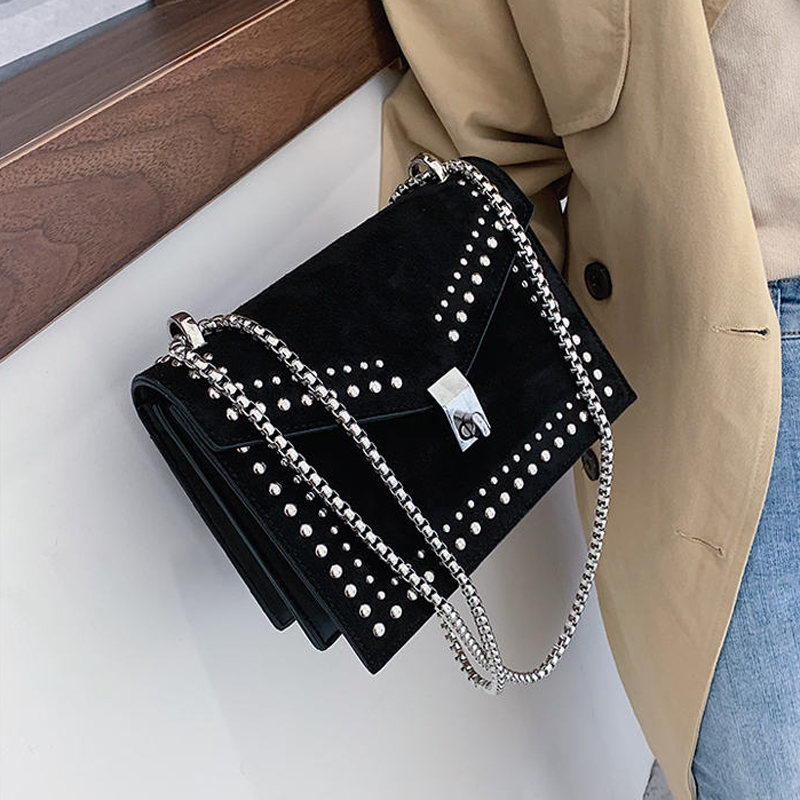 2019 Vintage Leather Shoulder Bags For Women Travel Bag Chain Fashion Rivet Lock Small Shoulder Bag Flap Women Bags