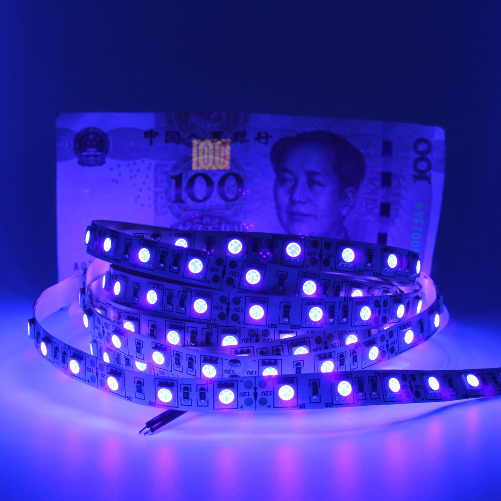 <font><b>UV</b></font> <font><b>LED</b></font> Strip Light 5050 SMD <font><b>12V</b></font> 395nm 405nm Ultraviolet Ray <font><b>LED</b></font> Diode Ribbon Purple Flexible Tape lamp for DJ Fluorescence image