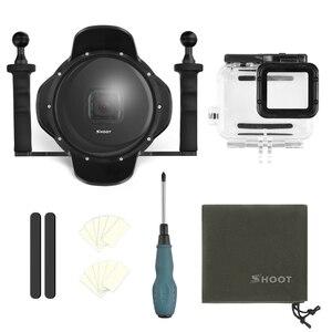 Image 5 - SHOOT funda impermeable para GoPro Hero 7 6 5, bandeja estabilizadora, funda de cúpula de buceo negra, accesorios para GoPro 7 6