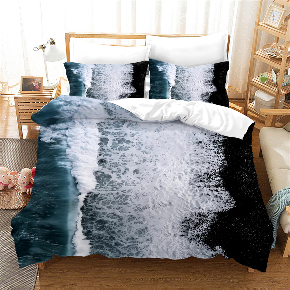 Wave Seawater Blue White Bedding Set Summer Holiday Ocean View Duvet Cover Set Modern Style Natural View Custom Comforter Set Bedding Sets Aliexpress
