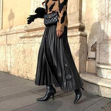 Женская Черная однотонная плиссированная юбка средней длины
