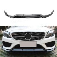 3PCS ABS Piano Black Car Front Bumper Lip Spoiler Splitters For Mercedes Benz W205 C205 C200 C300 C43 AMG 2014 2019|Bumpers|   -