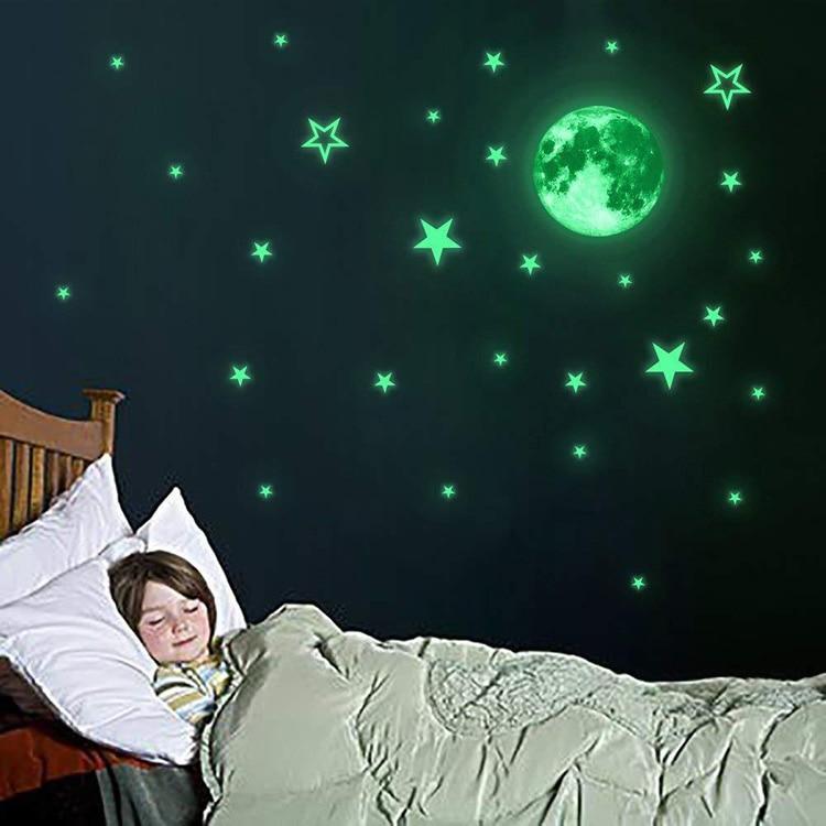 Luminous Moon Stars 3D  Home Decor Decals Glow In The Dark Wall Sticker
