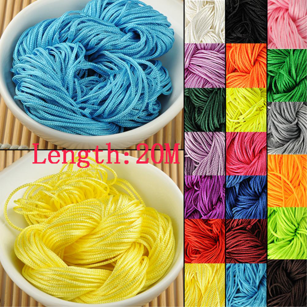 WITUSE DIY Braided String 20M Long 1mm Diamter Chinese Knot Wire Cord Macrame String Thread For Necklace Bracelet