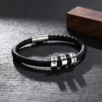 Personalized Mens Leather Bracelet with Custom Beads Braid Black Name Charm Bracelet with Family Names Armband pulsera hombre