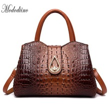 Mododiino Luxury Crocodile Pattern Women Handbag Designer Leather Bags Shoulder Bag Crossbody Top-Handle DNV1176