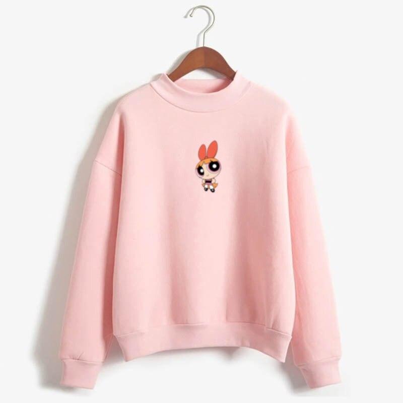 Kawaii buttercup powerpuff aesthetic cute girls Sweatshirt Fashion Women s Clothing Cartoon Color print hoodie autumn