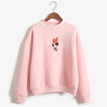 Kawaii buttercup powerpuff aesthetic cute girls Sweatshirt Fashion Women s Clothing Cartoon Color print hoodie