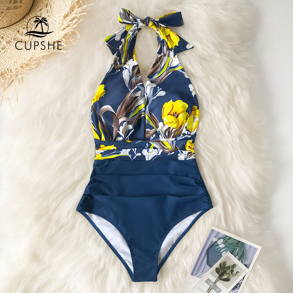 CUPSHE One-Piece Swimsuit Bathing-Suits Navy Lace-Up Women Monokini V-Neck Backless Floral title=