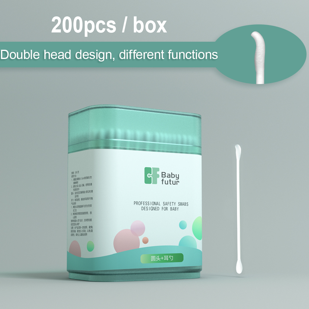 200Pcs/Box Baby Cotton Sticks Sterile Cotton Swabs Double Head Cotton Buds Swab Baby Ear Sticks With Storage Box