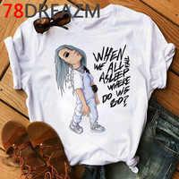 New Billie Eilish T Shirt Men Harajuku Funny Tshirt Hip Hop 90s Fashion Bad Guy Graphic T-shirt Kawaii Aesthetic Top Tees Male