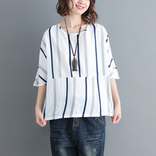 Womens  Cotton Linen Blouse Elegant Printed Half-sleeve O-neck Loose Casual Top 7.31