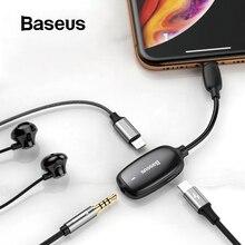 Baseus áudio aux adaptador para iphone 11 pro xs max xr x 8 7 fone de ouvido conversor para relâmpago a 3.5mm jack otg cabo splitter