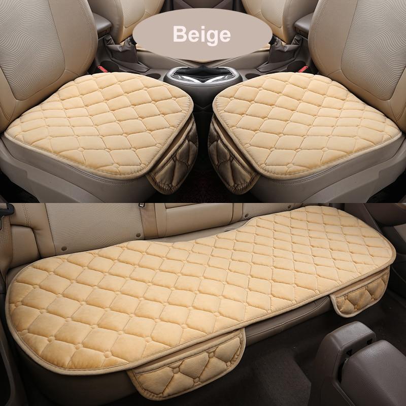 Housse de siège de voiture avant/arrière, ensemble complet, antidérapant, en peluche, pour siège de voiture, tapis de protection, hiver 1