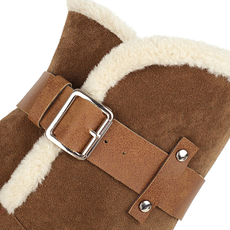 RIZABINA Women Snow Boots Thick Bottom Plush Fur Warm Women Winter Shoes Fashion Short Boots Casual Lady Footwear Size 35-43