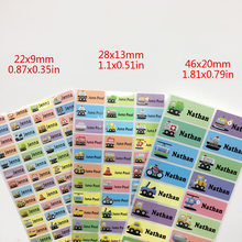 3Size Boy Cartoon Cars Pattern Custom Personal Name Stickers Transportation Waterproof Tag Label For Scrapbook School Stationery(China)