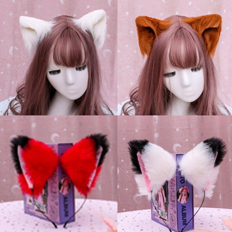 Venda quente cosplay traje de pele de gato orelha cabelo usar aro de cabelo feminino meninas moda hairpin de pelúcia hairbands acessórios para cabelo artesanal