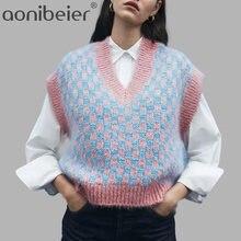 Aonibeier – gilet en tricot câblé pour femme, Pull-over Vintage, col en V, haut Sans Manche, collection printemps-automne, hiver