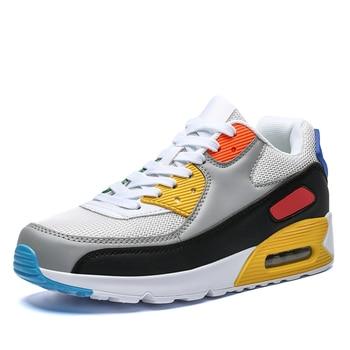 All Season Unisex Fashion Sneakers Men Hip Hop Shoes Spring Men's Air Cushion Mesh Sport Shoes Casual Shoes Men Male Footwear - grey yellow, 7