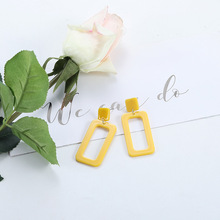 Korean Personality Exaggerated Long Earrings Yellow Square Acrylic Wild Temperament Tide for Women