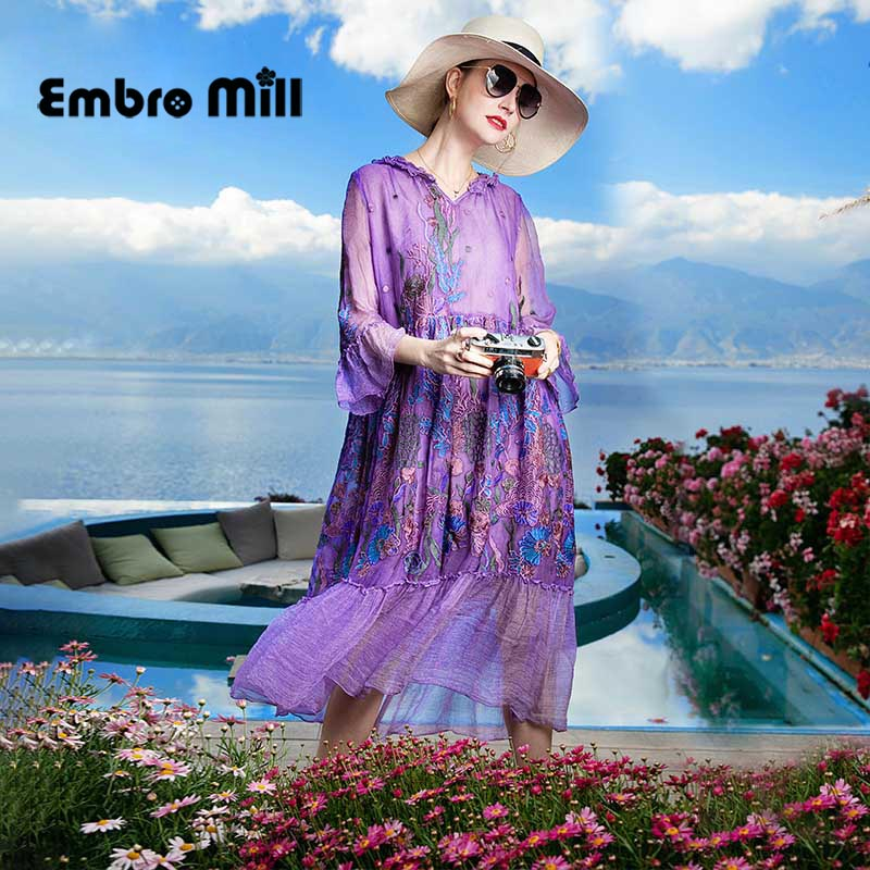 Spring High-End Women's New Hooded Beach Style Dress Silk Embroidery Flower Loose Ruffle Sleeve Lady Dress S-XL