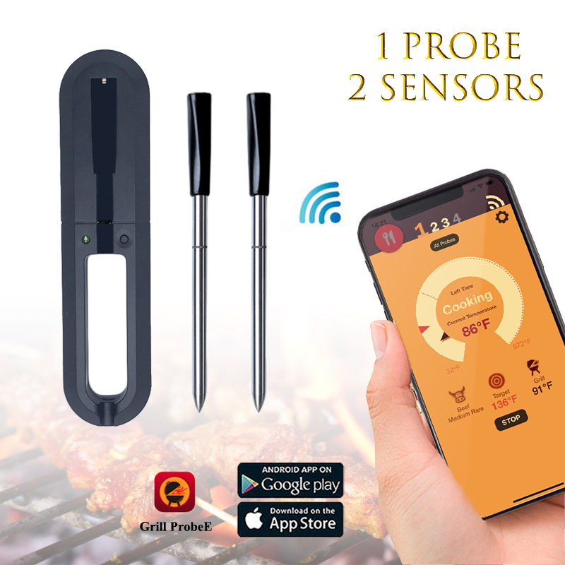 100% Wireless Digital Bluetooth BBQ Thermometer With 2 Sensors APP Control Food Cooking Oven Meat Grill Thermometer Kitchen Tool