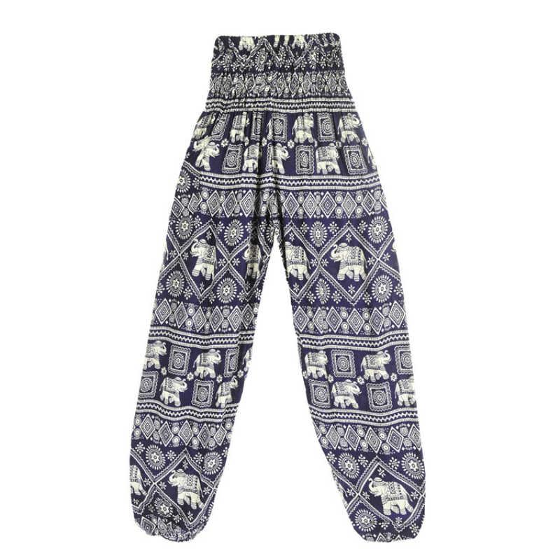 Kobiety dorywczo tajski styl Boho luźne lateksowe spodnie w kształcie słonia w pasie harem spodnie jogger plaża spodnie z wysokim stanem