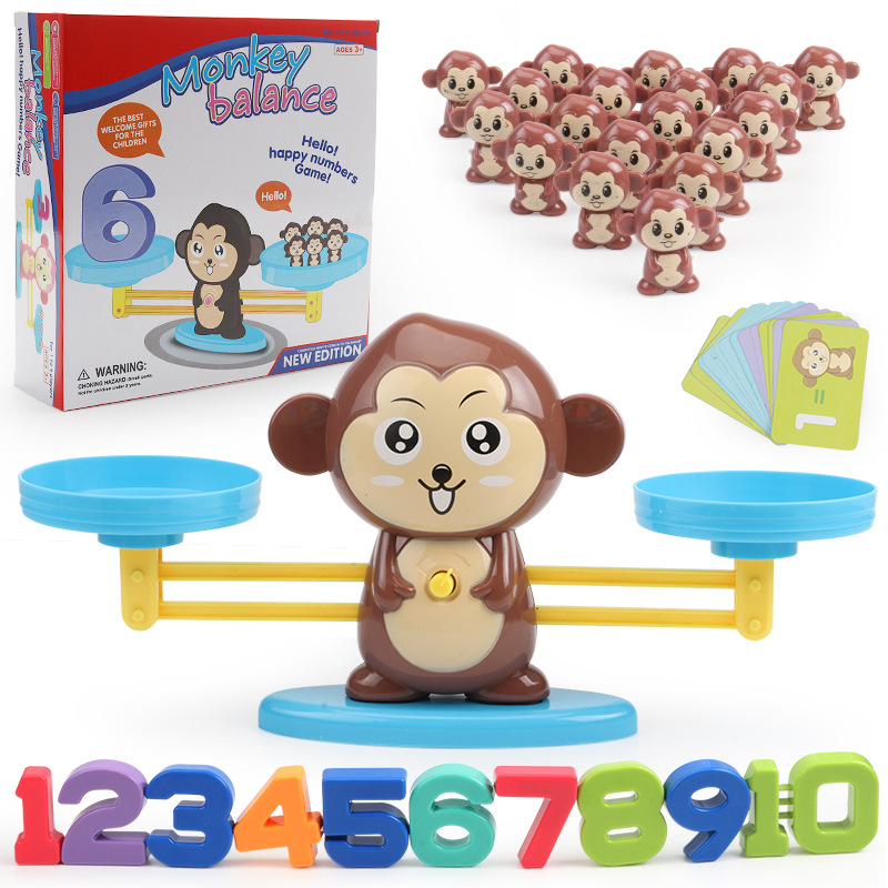 Monkey Balance Scale Game Math Match Board Toys Puppy Number Balance Games Kids Montessori Educational Toy