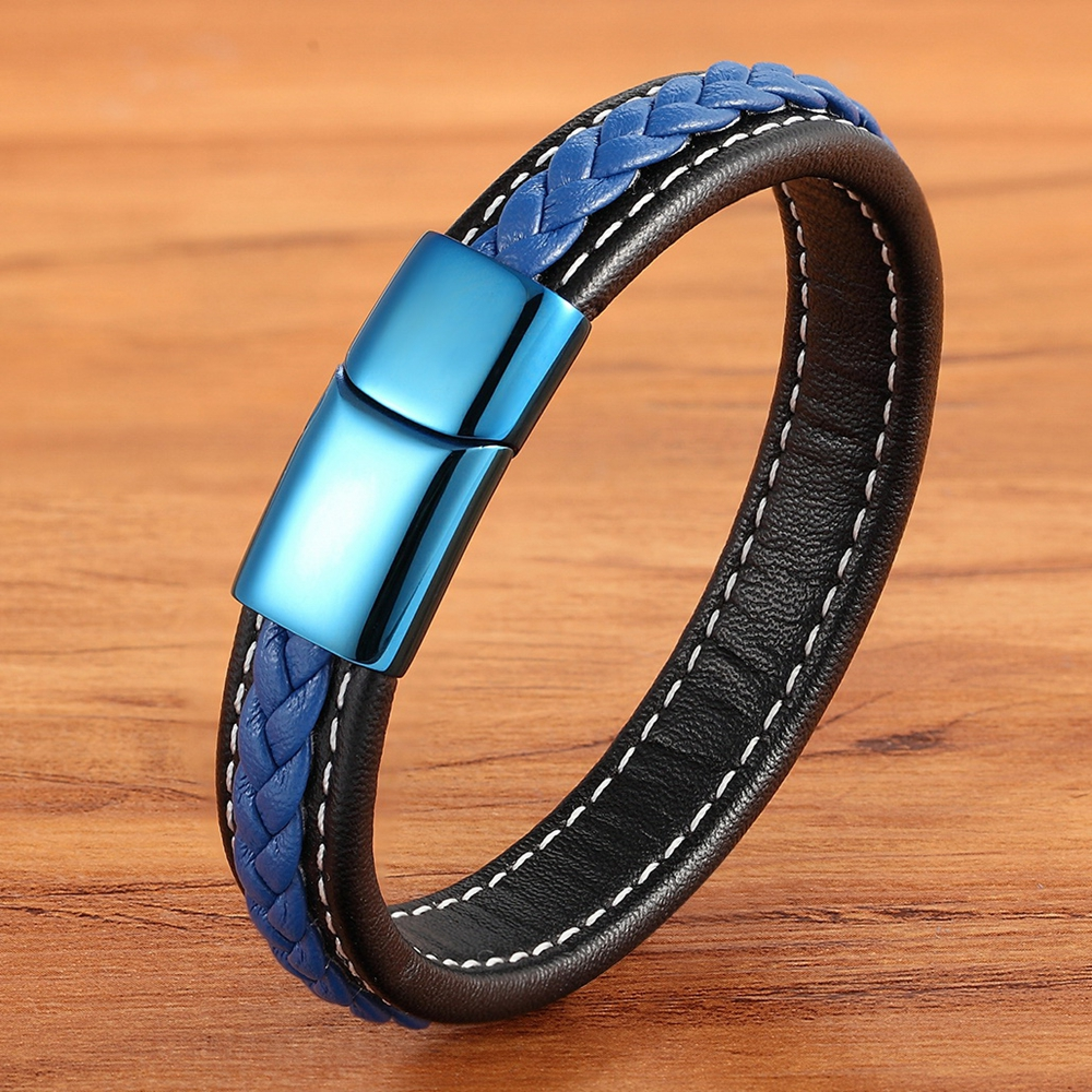 New Trend Leather Bracelet 7 Colors Men's Stainless Steel Leather Bracelet Stitching Combination Hand-woven Collection Gift(China)