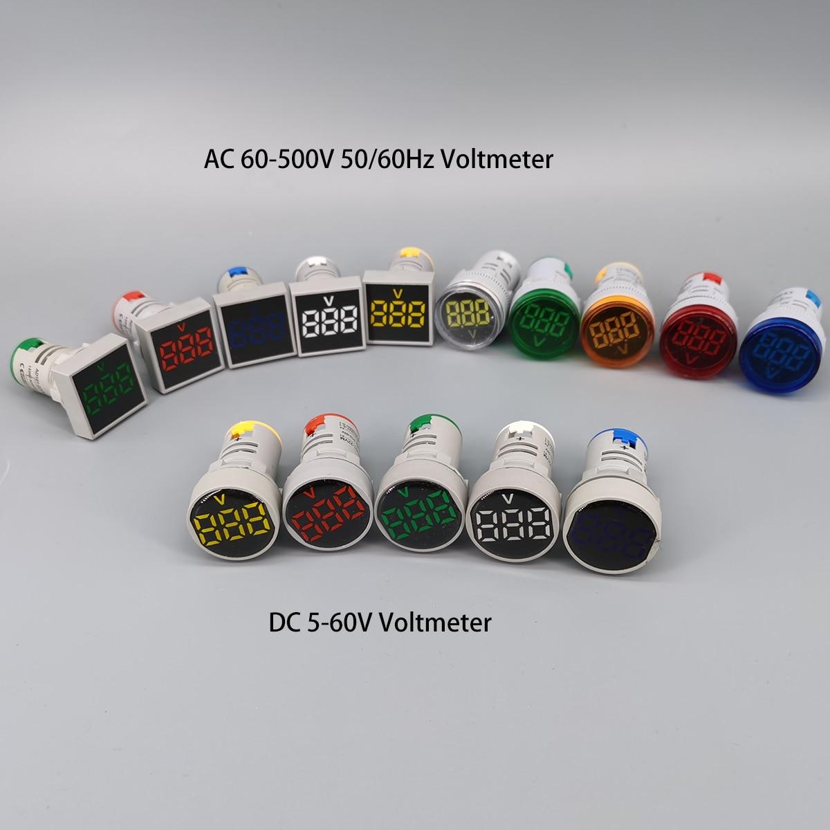 LED Voltmeter Signal Lights Digital Display Gauge Volt Voltage Meter Indicator Lamp Tester Measuring Range AC 60-500V DC 5-60V