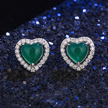 Natural Green Jade Chalcedony Heart-shaped Earrings 925 Silver Agate Carved Charm Jadeite Jewelry Fashion Amulet for Women Gifts jadeite genuine jadeite a goods bracelet ice full of green beautiful round articles quartzite jade bracelet