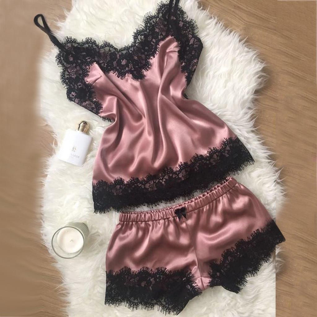 Permalink to Women's Sleepwear Sexy Satin Pajama Set Black Lace V-Neck Pyjamas Sleeveless Spaghetti Strap Cute Cami Top and Shorts pijama