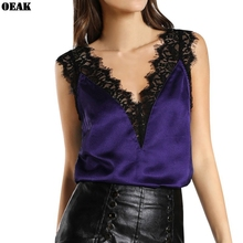 Oeak 2019 Womens Satin Lace Blouse Tanks Top Summer Sexy Sleeveless Vest Fashion Camisole Female Crop T-Shirt Tank